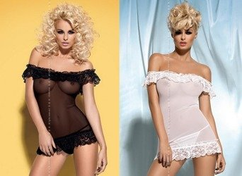Komplet (koszulka + stringi) Obsessive - Amoresa - rozmiar S/M - CZARNY