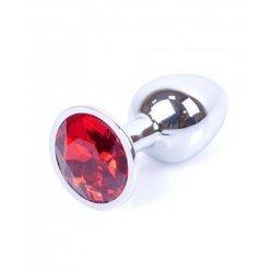 Korek analny stalowy z kryształem czerwonym