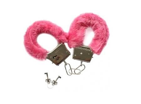 Kajdanki z futerkiem - różowe